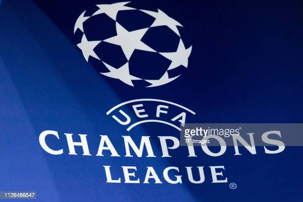 Champions League logo during the UEFA Champions League Round of 16 First Leg match between FC Schalke 04 and Manchester City at VeltinsArena on...