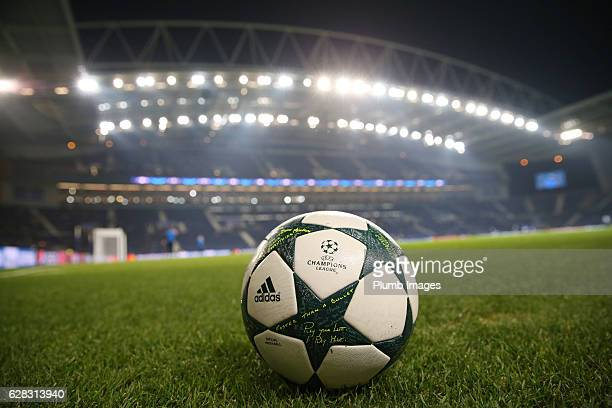 Champions League match ball at Estadio do Dragao ahead of the UEFA Champions Leagues match between FC Porto and Leicester City at Estadio do Dragao...