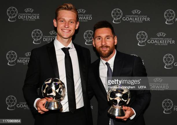 Champions League Midfielder of the Season 2018/19 Frenkie de Jong of FC Barcelona and UEFA Champions League Forward of the Season 2018/19 Lionel...