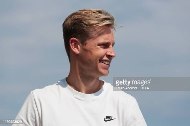 Champions League Midfielder of the Season 2018/19 Nominee Frenkie de Jong of Ajax AFC arrives at a helipad prior to the UEFA European Club Football...