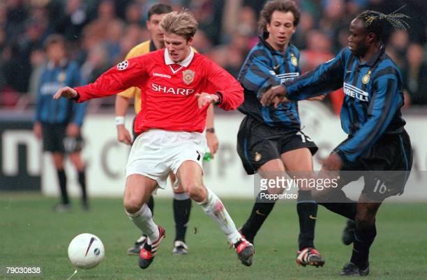 Champions League QuarterFinal Second Leg San Siro Stadium 17th March Inter Milan 1 v Manchester United 1 Manchester United's David Beckham on the...