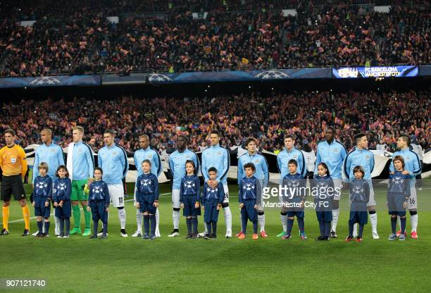 Champions League Round of 16 Second Leg Barcelona v Manchester City Camp Nou Machester City lineup with mascots prior to kick off