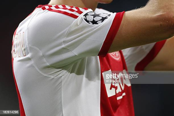 Champions League Shirt Ajax Logo home kit during the Champions League match between Ajax Amsterdam and AC Milan on Oktober 1 2013 at the Amsterdam...