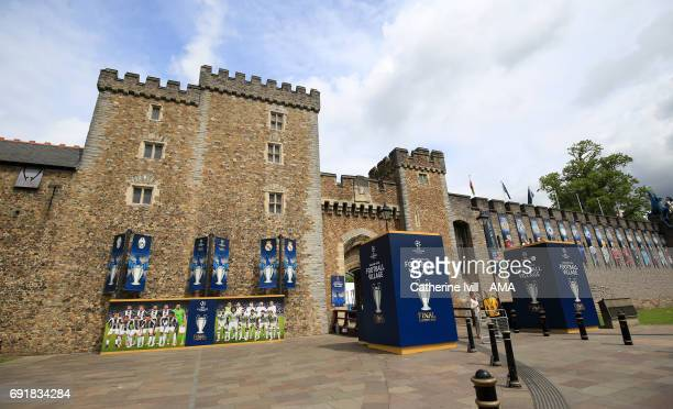 Champions League signage can be seen outside Cardiff Castle ahead of the UEFA Champions League Final match between Juventus and Real Madrid at...