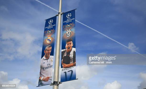 Champions League signage with Gareth Bale of Real Madrid and Paulo Dybala of Juventus ahead of the UEFA Champions League Final match between Juventus...