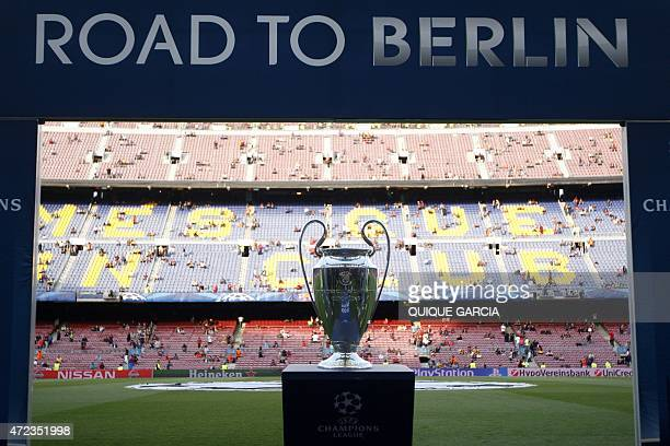 Champions League thropy is exhibited before UEFA Champions League semifinal football match FC Barcelona vs FC Bayern Muenchen at the Camp Nou stadium...