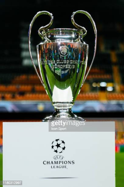 Champions League Trophy during the Champions League match between Valencia and Lille at Estadio Mestalla on November 5, 2019 in Valencia, Spain.