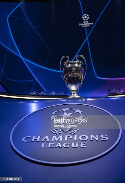 Champions League trophy is being displayed ahead of UEFA Champions League 21/22 group stage draw at Halic Congress Center in Istanbul, Turkey on...