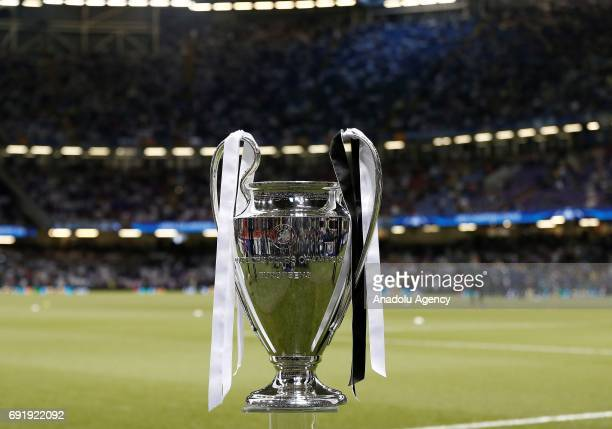 Champions League Trophy is being displayed ahead of UEFA Champions League Final soccer match between Juventus and Real Madrid at Millennium Stadium...