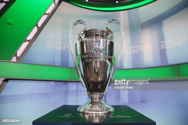 Champions League Trophy is displayed during the UEFA Champions League Trophy Tour presented by Heineken on March 09 2018 in Mexico City Mexico