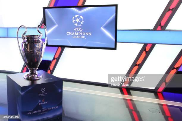 Champions League Trophy is pictured during the UEFA Champions League Trophy Tour presented by Heineken on March 9 2018 in Mexico City Mexico