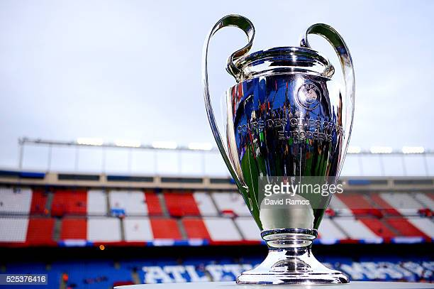 UEFA Champions League trophy is seen ahead of the UEFA Champions League semi final first leg match between Club Atletico de Madrid and FC Bayern...