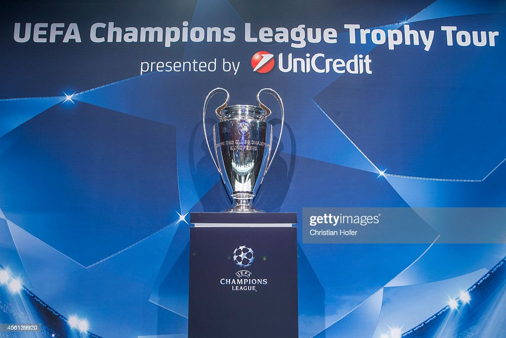 Champions League Trophy is seen during the press ...