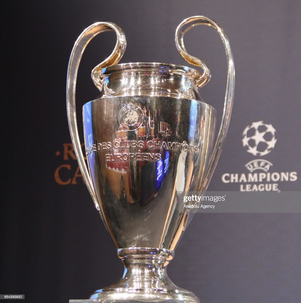 Champions League Trophy Is Seen During The Quarter Final Draw Of UEFA