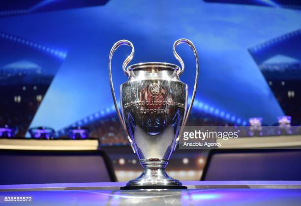 Champions League trophy is seen during the UEFA Champions League 2017-18 Group stage draw ceremony, at the Grimaldi Forum, Monte Carlo in Monaco, on...