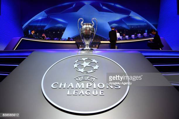 Champions League trophy is seen during the UEFA Champions League 201718 Group stage draw ceremony at the Grimaldi Forum Monte Carlo in Monaco on...