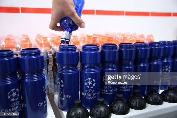 Champions League water bottles being prepared for the Leicester City training session at Vicente Calderon Stadium on April 11 2017 in Madrid Spain