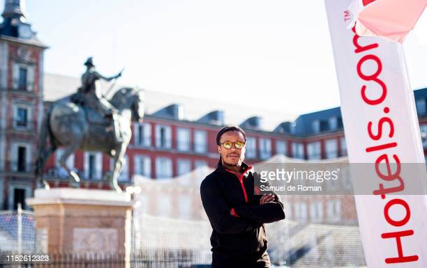 Champions League winner Edgar Davids at the Hotels.com Champions Retreat in Plaza Mayor ahead of the UEFA Champions League Final on May 30, 2019 in...
