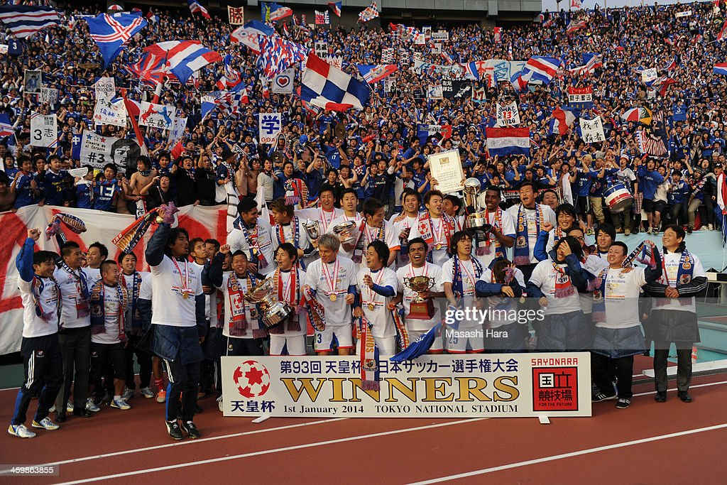 Champions of 93rd Emperor's Cup,Yokohama F.Marinos celebrate after winning the 93rd Emperor's Cup final between Yokohama F.Marinos and Sanfrecce Hiroshima at the National Stadium on January 1, 2014 in Tokyo, Japan.