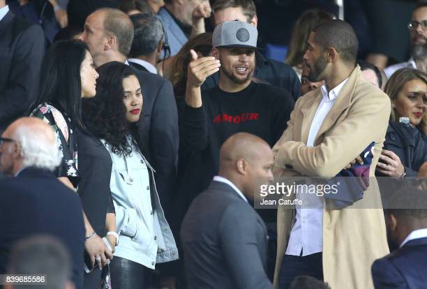 NBA champions Stephen Curry of Golden State Warriors and Nicolas Batum of Charlotte Hornets with their wives Ayesha Curry and Aurelie Etchart attend...