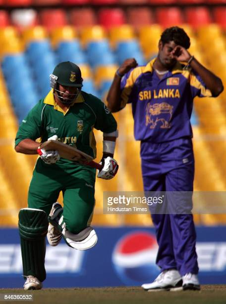 Disappointed Sri Lankas bowler Lasith Malinga after the South African bastman Jacques Kallis hits a ball in the ICC Champions Trophy at the Sardar...