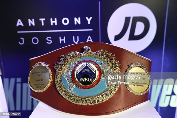 Championship belt is displayed as JD's Anthony Joshua hosts his #KingOfTheAirwaves radio show live on TikTok with a host of special guests including...