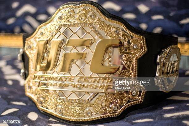 Championship belt is seen during UFC Champion Rose Namajunas' visit to Build Series at Build Studio on February 7 2018 in New York City