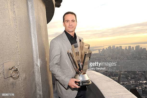 NASCAR championship driver Jimmie Johnson poses for pictures on the uppermost level of The Empire State Building in celebration of Jimmie Johnson Day...