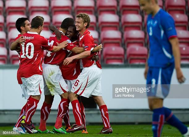 Championship Innocent Emeghara Schweiz / Switzerland making 20 goal against Iceland left Fabian Lustenberger Schweiz / Switzerland © Lars Ronbog /...