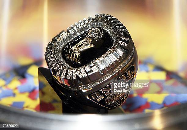 A championship ring made for Shaquille O'Neal of the Miami Heat is shown to the media before the ring presentation ceremony prior to the game against...