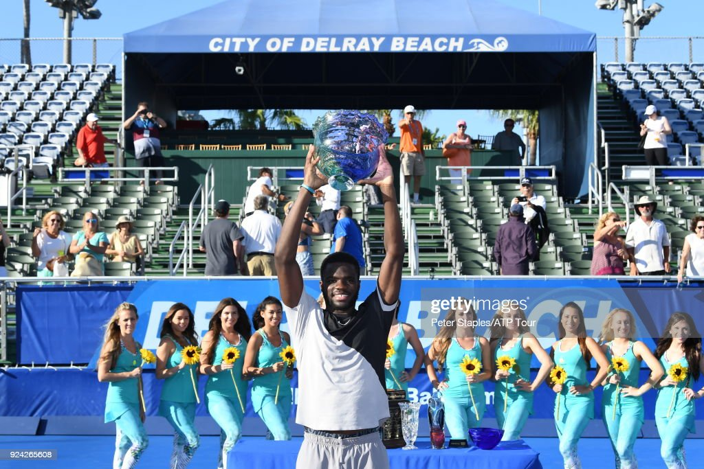 Championship winner Frances Tiafoe of United States during the trophy presentations at the Delray Beach Open held at the Delray Beach Stadium & Tennis Center on February 25, 2018 in Delray Beach, Florida