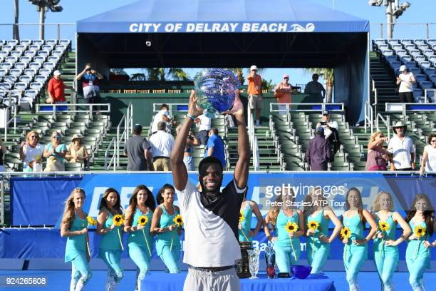 Championship winner Frances Tiafoe of United States during the trophy presentations at the Delray Beach Open held at the Delray Beach Stadium Tennis...