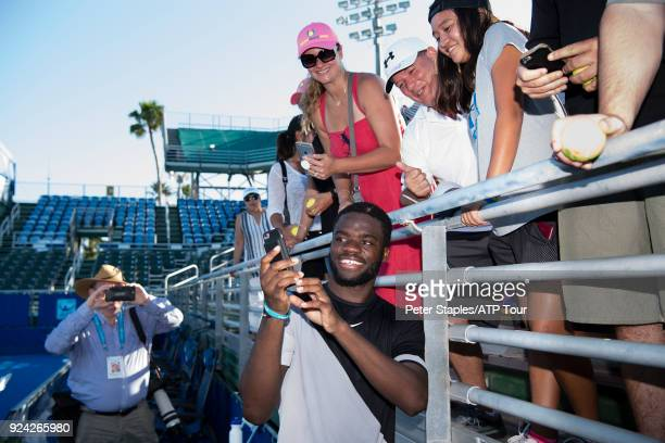 Championship winner Frances Tiafoe of United States with fans at the Delray Beach Open held at the Delray Beach Stadium Tennis Center on February 25...