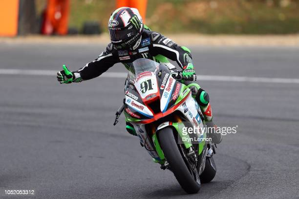 Championship winner Leon Haslam of Kasawaski - JG Speedfit Kawasaki celebrates after race one of the British Superbike Championship at Brands Hatch...