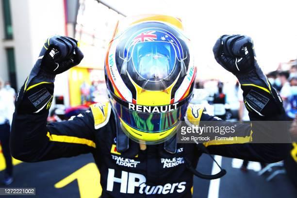Championship winner Oscar Piastri of Australia and Prema Racing celebrates in parc ferme during the Formula 3 Championship Second Race at Mugello...