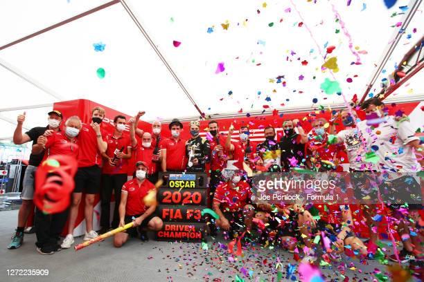 Championship winner Oscar Piastri of Australia and Prema Racing celebrates after the Formula 3 Championship Second Race at Mugello Circuit on...