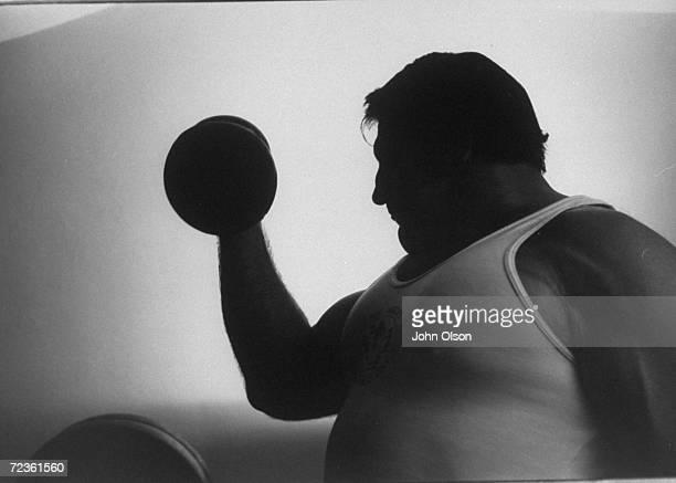 Championship wrestler Bruno Sammartino lifting weights during his daily exercise program.
