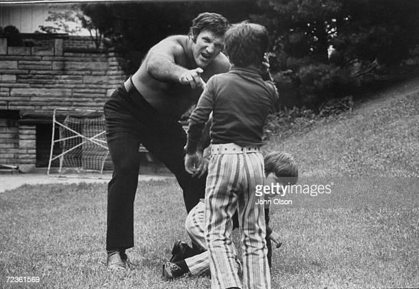 Championship wrestler Bruno Sammartino playing with his children.