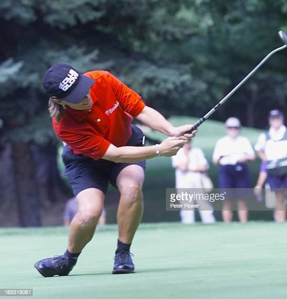 Nancy Harvey uses some body language to help a putt on the eighth hole but it didn't quite goRound two coverage of the LPGA Championship being held...