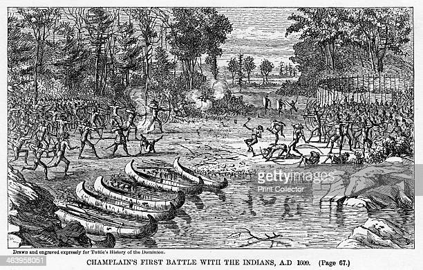 'Champlain's First Battle with the Indians AD 1609' French explorer Samuel de Champlain fights Native Americans Illustration from Popular history of...