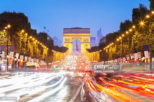 Champs Elysees and Arc de Triomphe at night, Paris