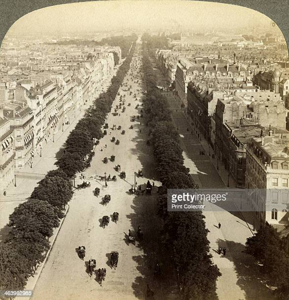 Champs Elysees from the Arc de Triomphe, Paris, France, 19th century. Stereoscopic card detail.