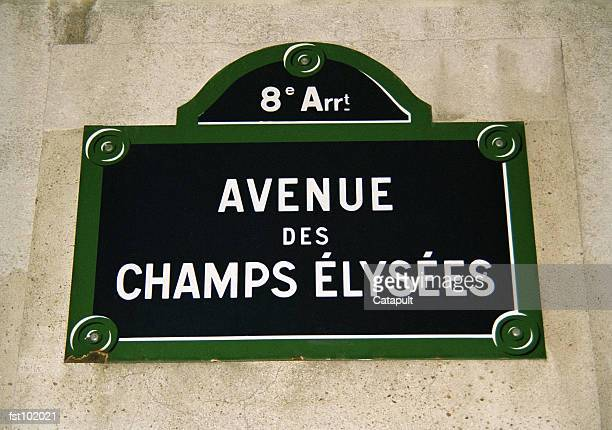 champs elysees sign - avenue des champs elysees stock pictures, royalty-free photos & images