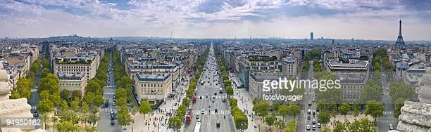 champs-Élysées eiffel tower - avenue des champs elysees stock pictures, royalty-free photos & images