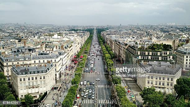 Champs-Elysees Amidst Buildings Seen From Arc De Triomphe