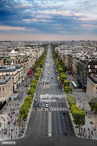 champs-élysées aerial view, paris (france) - シャンゼリゼ地区 ストックフォトと画像