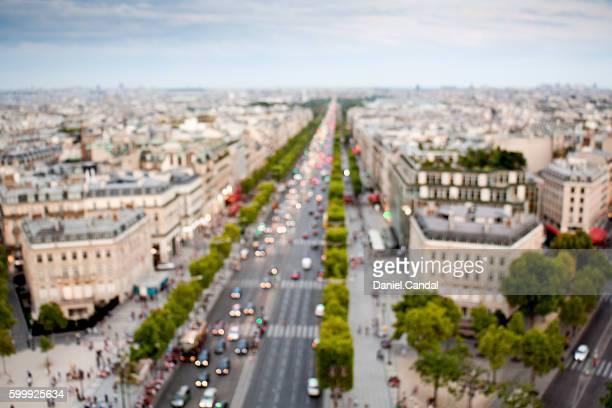 Champs-Élysées aerial view, Paris (France)