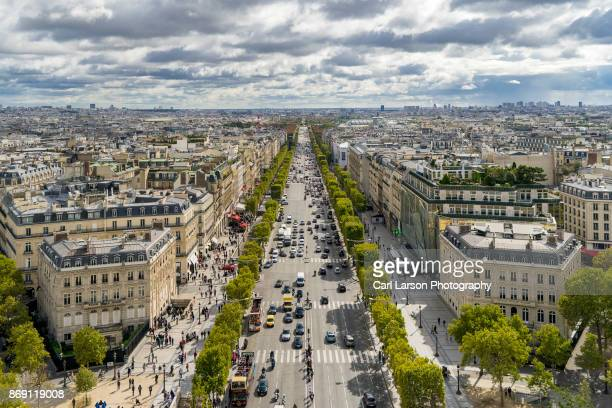 champs-élysées aerial view - place charles de gaulle paris stock photos and pictures