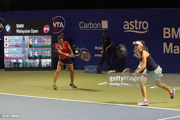 Chan Chin Wei of Chinese Taipei and Barbora Krejcikova of Czech Republic in action during round two of the 2016 Malaysian Open at Kuala Lumpur Golf...