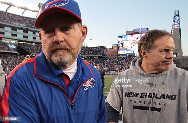 Chan Gailey coach of the Buffalo Bills walks away from Bill Belichick coach of the New England Patriots after the Patriots defeated the Bills at...